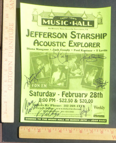 Jefferson Starship Band Autographed Concert Handbill Tarrytown New York 1998