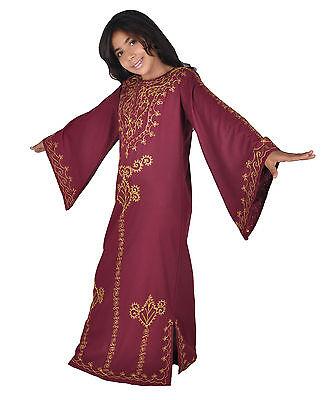 Kinder Kaftan Mädchen Kleid Prinzessin Kostüm weinrot -gold im 70er Look-KK00142