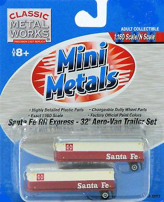 Classic Metal Works N Scale Aero Van Trailers - Santa Fe RR Express, used for sale  Liberty