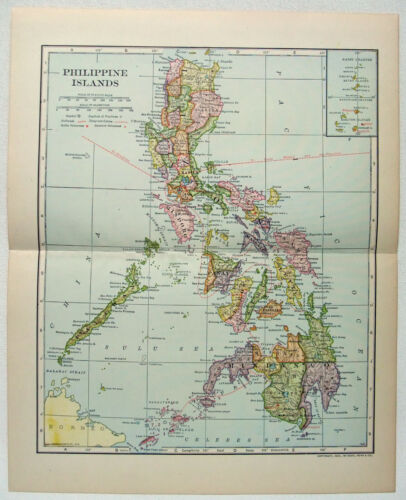 Philippine Islands - Original 1907 Dated Map by Dodd Mead & Company. Antique