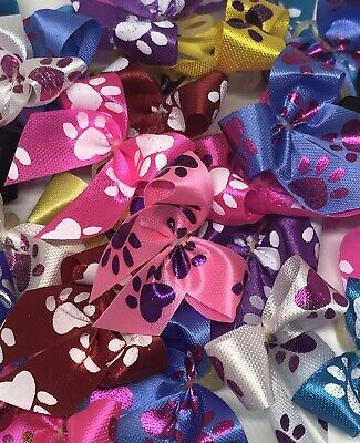 Dog Bows Pet Grooming Ear Top Knot Big Paws Variety Size Small 50 (25 Pair) USA