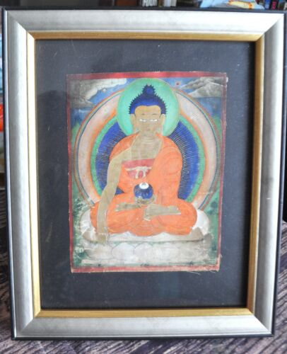 Framed Mongolian Tibetan Antique Thanka Thangka Painting Buddha Shakyamuni