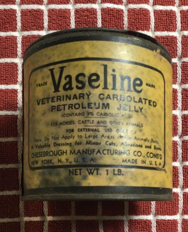 Vintage Vaseline Tin For Veterinary Use