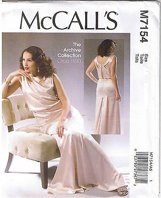 Vintage 30s Retro Evening Cocktail Dress McCalls Sewing Pattern 14 16 18 20 22