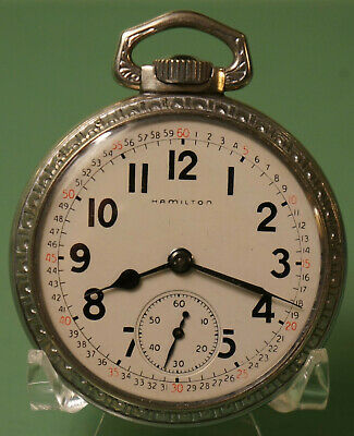 16S Hamilton 21J 992B Railroad Model 14 nickel-chrome case pocket watch
