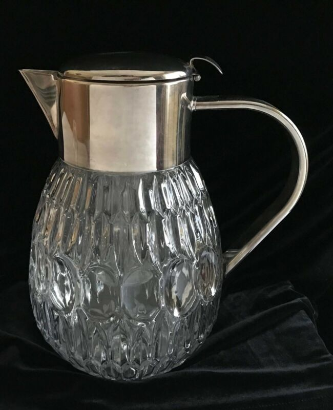 Vintage Crystal Pitcher, Silver Plate Top & Handle, Ice Tube, Spout Strainer