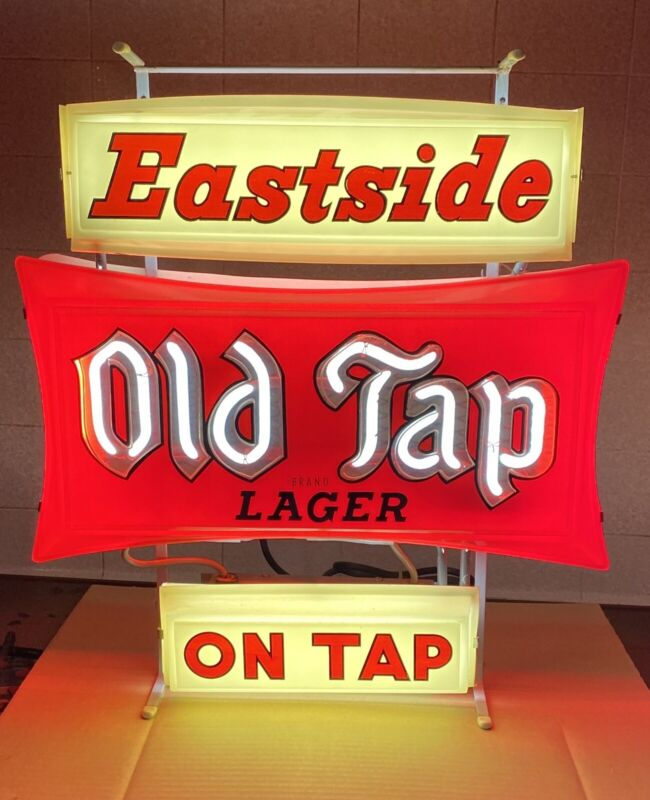 1961 EASTSIDE OLD TAP LAGERBEER neon sign PABST BREWING Los Angeles CA