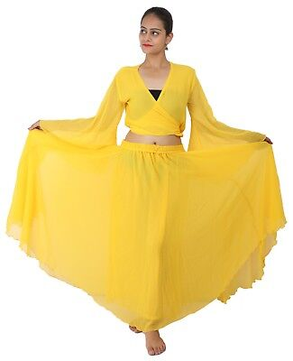 YELLOW Halloween Belly Dance Costume Set for Gypsy Tribal ATS Dance (Skirt+Top) - Belly Dancing Costumes For Halloween