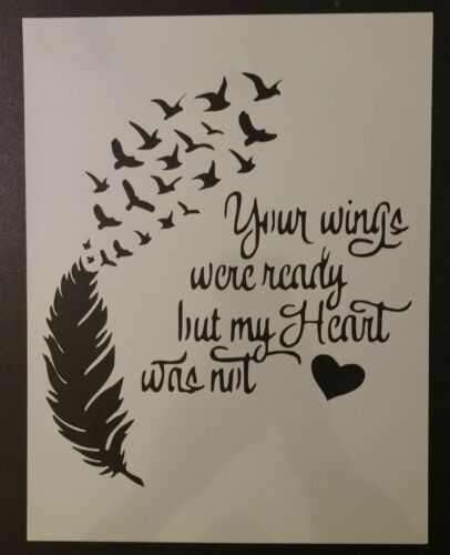 """Wings Ready Heart Not Feather Birds 8.5"""" x 11"""" Custom Stencil FAST FREE SHIPPING"""