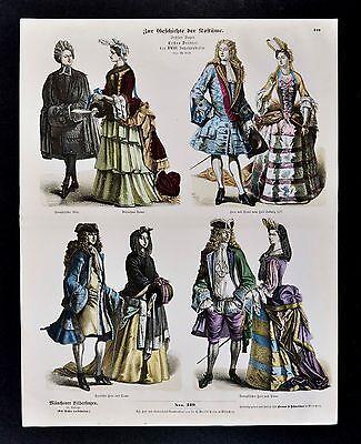 1880 Braun Costume Print 18th c. French Dress in Louis XIV Court Fashion France