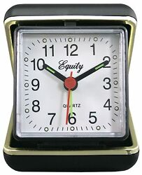 20080 Equity by La Crosse Quartz Folding Travel Alarm Clock with Brass Case Trim