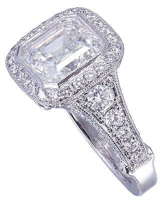 GIA I-VS2 18k White Gold Asscher Cut Diamond Bezel Engagement Ring Deco 3.30ctw 10