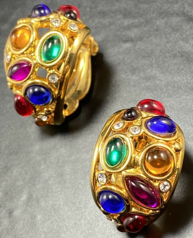 JOAN RIVERS Vintage Clip Earrings Colorful Glass Cabochon Crystal Rhinestones