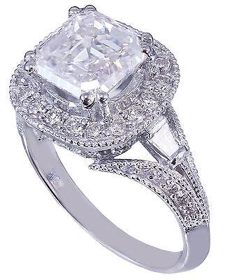GIA I-VS2 18k White Gold Asscher Cut Diamond Engagement Ring Etoile Deco 2.85ctw 10