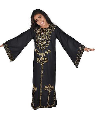 Kinder Kaftan Mädchen Kleid Prinzessin Kostüm schwarz-gold im 70er Look- KK00208