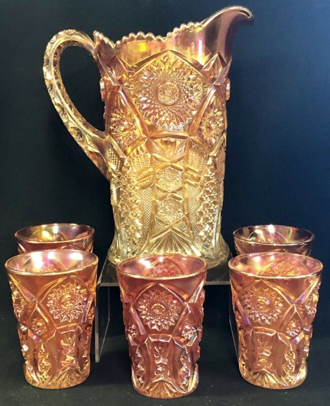 """IMPERIAL MARIGOLD CARNIVAL GLASS CRAB CLAW VARIANT 10"""" WATER PITCHER TUMBLER SET"""
