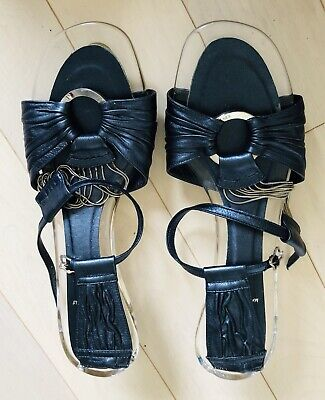 Fendi Womens Blue Silver Heel Plexiglass Acrylic Sillver Chain Shoe SZ 8.5