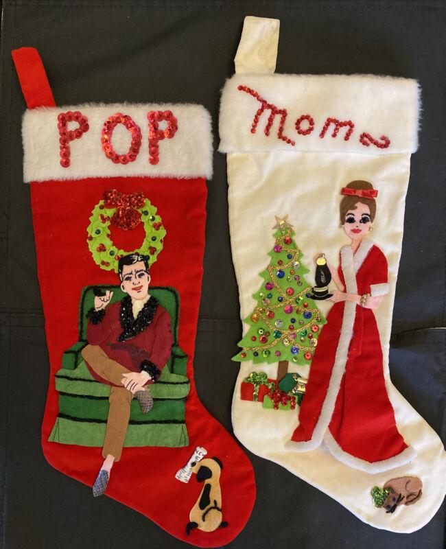 2 Vintage 1950s Beautiful Velvet Sequins Appliqué Christmas Stockings Mom Pop