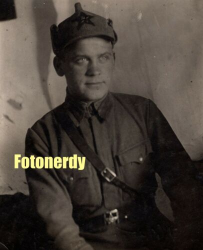 WWII Era Soviet Russian Photo Red Army Soldier In Budenovka Cap a14
