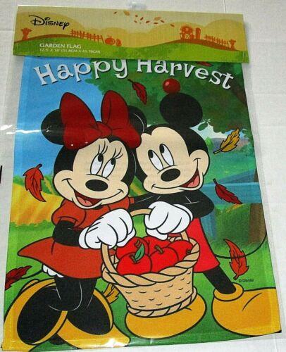 "DISNEY GARDEN FLAG 12.5""x 18""  HAPPY HARVEST / MICKEY & MINNIE HOLDING BASKET"