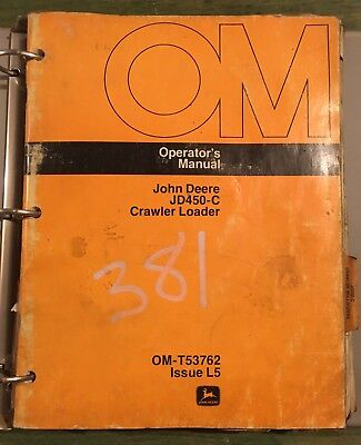 John Deere Jd450c Crawler Bulldozer Operator Parts Manual Omt-t53762 Pc-1420