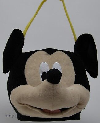 Easter Disney Mickey Mouse Face Plush Jumbo Large Tote Basket 12x12 NWT