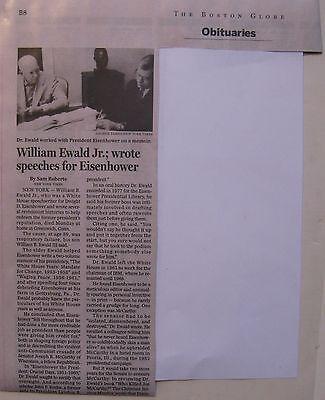 Obituary  Boston Globe 3 20 15 William Ewald  Jr   89  Eisenhower Speech Writer