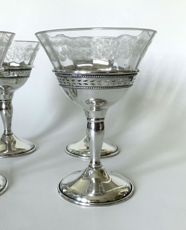 Set Antique Sterling Silver Clear Etched Glass Champagne Glasses