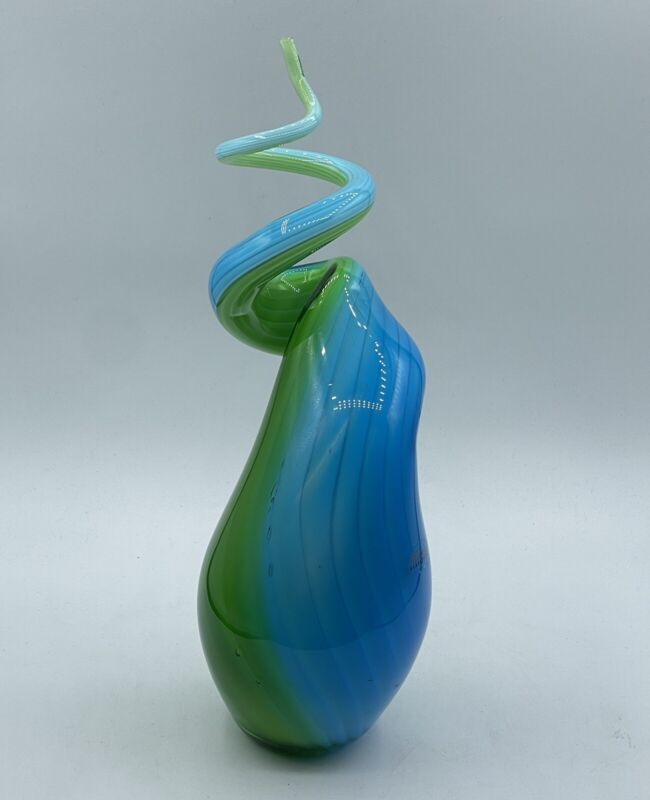 Abstract Spiral Art Glass Sculpture Murano Glassware Hand Blown Blue Green