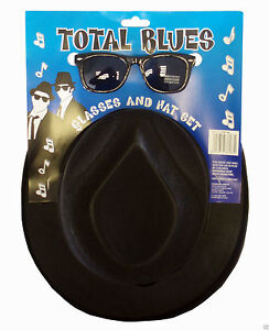 The-Blues-Brothers-Gangster-Black-Trilby-Hat-Glasses-Fancy-Dress-Costume