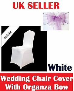 SPANDEX LYCRA CHAIR COVERS  IN WHITE & BLACK WITH ORGANZA BOW VIOLET  NEW  PACK