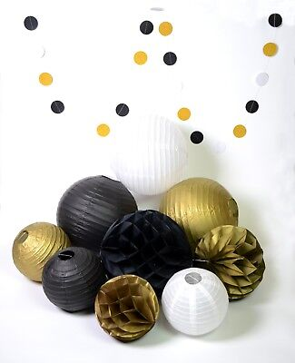 black white gold lantern honeycomb for retirement wedding birthday anniversary](Black White And Gold Wedding Decorations)