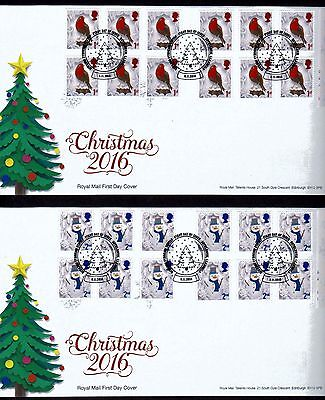 2016 Royal Mail  Christmas 1st & 2nd class X2 booklets  F.D.Cs  Unaddressed    ()