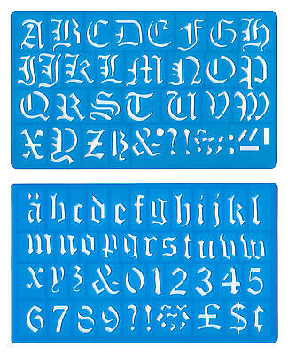 Alphabet Template Set (30mm OLD ENGLISH UPPER LOWER CASE ALPHABET NUMBERS STENCIL TEMPLATE SET mb )
