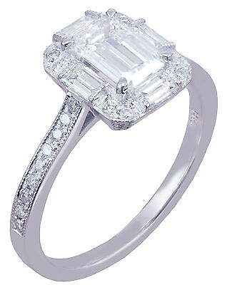 GIA G-VS2 14k White Gold Emerald Cut Diamond Engagement Ring Deco Halo 1.60ctw 3