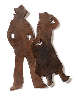 Western Metallschnitt Cowboys Deko Wild West Cowgirl Wand Bild Westernpaar ()