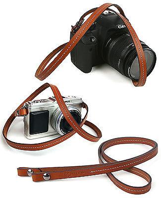 Whole leather camera neck shoulder strap - Brown - Film DSLR RF Leica Digi Cute