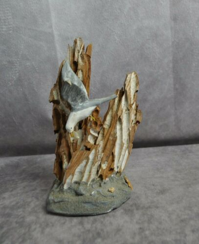 "Vintage Seagull and Bark Sculpture Stamped on Bottom 1961 9"" High"