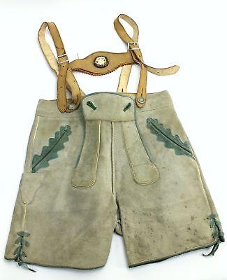 Deutsch Lederhosen (Vintage Marke Bergfreund Deutsch Leder Kinder Lederhosen Strapshalter - Größe 7)
