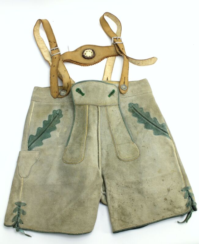 Vintage Marke Bergfreund German Leather Child Lederhosen Suspenders - Size 7