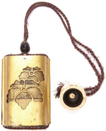 Antique Japanese Edo Meiji Period Pierced Mon Gold Lacquer Inro Ojimi Netsuke