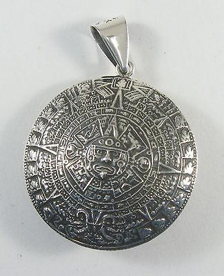 Aztec pendantebay 1 925 sterling silver double domed aztec calendar pendant 1 34 diameter mozeypictures Images