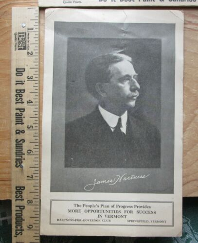 james hartness for governor in vermont 1920 campaign card