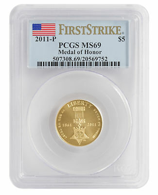 2011-W Medal of Honor $5 UNC Gold Commemorative MS69 PCGS FS Flag