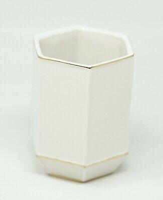 Kassatex St. Honore Fine Porcelain Gold Tone Tumbler - White