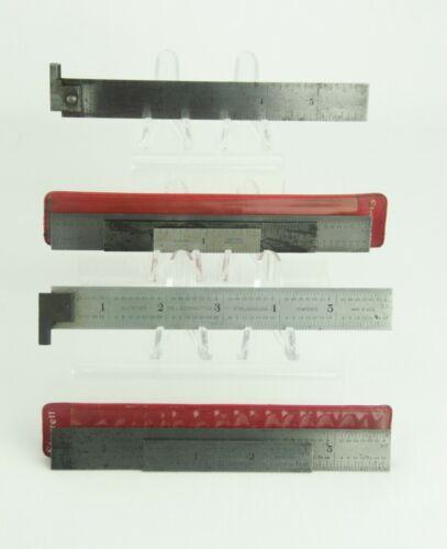 Vintage L S Starrett Machinist Tempered Hook Ruler Lot of 7