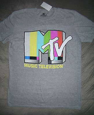 Mtv Music Television Retro Logo Grey T Shirt  New With Tags  Officially Licensed