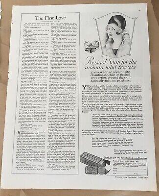 Resinol soap ad 1927 original vintage print 20s illustration art fashion beauty