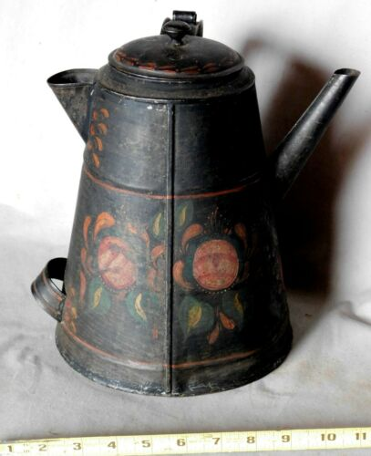 Antique tole painted tin coffee pot black flowers fruit polychrome 19th century