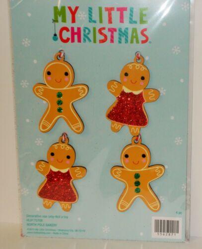 MY LITTLE CHRISTMAS 4 PIECE GINGERBREAD BOYS GIRLS MINI CHRISTMAS TREE ORNAMENTS